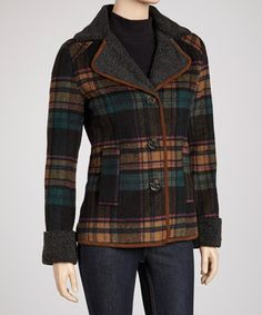 Baby it's cold outside—but what lady is going to care when she has this timeless coat to show off? Classic plaid is offset by a cozy textured collar and contrast piping. A touch of wool keeps any chill at bay.
