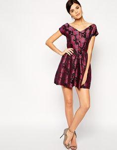 Enlarge True Decadence Floral Metallic Jacquard Bardot Prom Dress asos