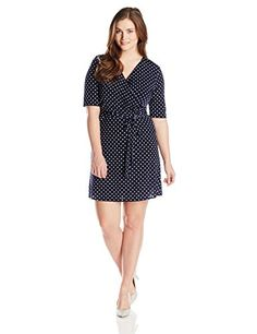 Star Vixen Womens PlusSize Elbow Sleeve FauxWrap Dress NavyWhite Dot 3X ** Read more  at the image link.