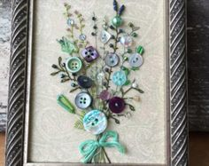 Antique Button Picture in Rustic Wood Frame by warnANDweathered