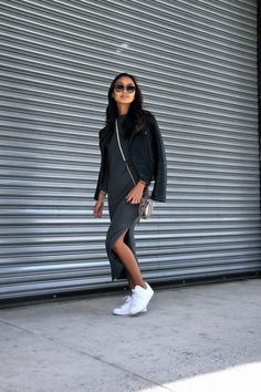 43c5cc9517d3 Image result for dresses with sneakers Leather Jacket Outfits