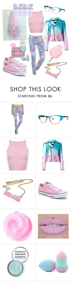 """""""Cotton Candy Punk"""" by jill-cipher ❤ liked on Polyvore featuring Lafont, Yves Saint Laurent, Converse, Obsessive Compulsive Cosmetics and Forever 21"""