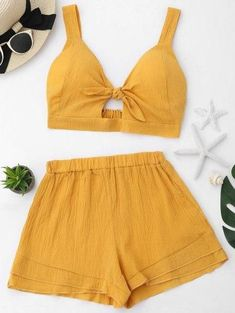 Cut Out Crop Top and Shorts Set   GINGER PUMPKIN ORANGE Summer Outfits Women 30s, Cute Summer Outfits, Outfits For Teens, Spring Outfits, Spring Shorts, Lazy Outfits, Korean Outfits, Everyday Outfits, Pretty Outfits