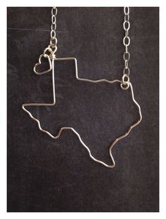 Texas Necklace - Custom State Love Necklace - Texas Outline Necklace - Personalized Necklace - Any state or Country Necklace - State Jewelry by theFolk on Etsy https://www.etsy.com/listing/108899833/texas-necklace-custom-state-love