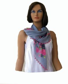 Turkish oya scarf square cotton scarf grey pink by KnitterPrincess, $24.00
