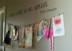 kids artwork display for a classroom! Displaying Kids Artwork, Artwork Display, Display Wall, Hanging Artwork, Hallway Displays, Casa Kids, Deco Kids, Super Mom, Super Easy