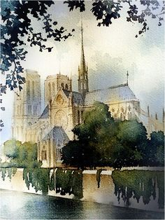 "Thomas W Schaller · ""Years ago at 23 I made the pilgrimage to Paris. - Thomas W Schaller · ""Years ago at 23 I made the pilgrimage to Paris. Watercolor Architecture, Watercolor Landscape, Watercolour Painting, Landscape Paintings, Watercolors, Paris Painting, Watercolor Sketch, Cultural Architecture, Art And Architecture"