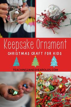 This fillable keepsake ornament is fun because it allows the children to choose what small items they want to put into their plastic ornament, along with a laminated photo of themselves. Christmas Activities For Toddlers, Holiday Crafts For Kids, Crafts To Do, Preschool Activities, Homemade Christmas Tree, Christmas Tree Ornaments, Christmas Holidays, Kids Ornament, Winter Holidays