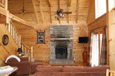 Wood Burning Fireplace. valleyviewcabins.com #HockingHills #LogCabin