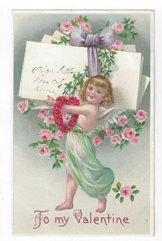 Antique Valentines Day Post Card Little Girl with Wings & Roses & Note       ##