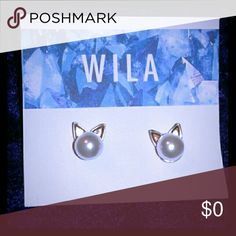 *COMING SOON*  Pearl Cat Stud Earrings This is my first boutique listing woohoo! Materials- 14k gold plated metal alloy and faux pearl. Jewelry Earrings