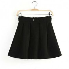 Simple Solid Color High Waist Zipper A-Line Skirt For Women, BLACK