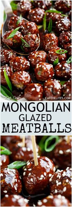 Mongolian Meatballs - Cafe Delites Meat Recipes, Appetizer Recipes, Cooking Recipes, Easy Cooking, Barbecue Recipes, Meatloaf Recipes, Barbecue Sauce, Sandwich Recipes, Cooking Tips