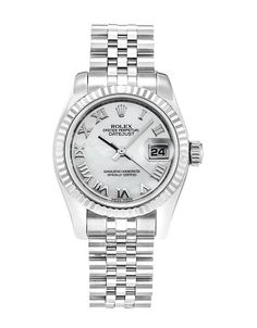 This is a pre-owned Rolex Datejust Lady 179174. It has a 26mm Steel Case & White Gold Bezel, a Mother of Pearl - Silver Roman Numeral dial, a Steel (Jubilee) bracelet, and is powered by an Automatic movement.