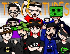 Love these guys. They are the Creatures, a group of video gaming commentators! Go check them out sometime on Youtube!  Back row L to R: Slyfoxhound, ZeRoyalViking, Spoon  Front row L to R: Danznews, GassyMexican, Kootra, Uberhaxornova, and SSoHPKC (Seamus)