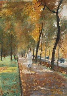 """Lesser Ury (German, 1861-1931) - """"Tiergarten, Berlin"""", 1922"""