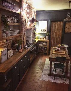 The Bohemian, Dark & Inviting Home of Nadia Martini - The Interior Editor - Boho/Rustic/ Chic/House/Kitchen ideas Home Decor Kitchen, Interior Design Kitchen, Home Kitchens, Cosy Kitchen, Dark Kitchens, Kitchen Ideas, Dark Home Decor, Industrial Kitchen Design, Rustic Home Design