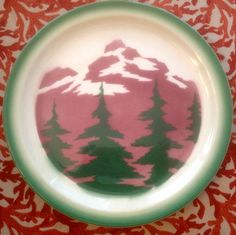 VINTAGE 1954 WALLACE CHINA PLATE Forest Scene