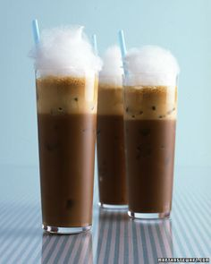 Iced Coffee Frappe with Cotton Candy - Wowza! #recipe