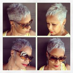 short, spikey lavender pixie cut