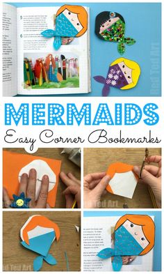 Corner Bookmarks Designs - How make Origami Bookmark Corners - Summer Crafts For Kids, Diy Gifts For Kids, Paper Crafts For Kids, Diy Crafts To Sell, Art For Kids, Summer Diy, Bookmarks Kids, Bookmark Craft, Corner Bookmarks