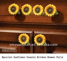 Gasp changing my theme to sunflo. Sunflower Country Kitchen Drawer Pulls… Gasp changing my theme to sunflowers in the kitchen Sunflower Themed Kitchen, Sunflower Bathroom, Sunflower Nursery, Sunflower Room, Sunflower Kitchen Decor, Sunflower Decorations, Kitchen Drawer Pulls, Cabinet And Drawer Pulls, Kitchen Drawers