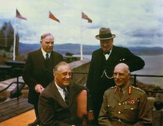 Winston Churchill, William Lyon Mackenzie King, the Earl of Athlone, and Franklin D. Roosevelt on the terrace of the citadel in Quebec, Canada during the 1943 Quadrant conference in which the invasion strategy for Normandy was discussed. Franklin Roosevelt, Quebec, Indira Ghandi, Canadian History, World Leaders, Ww2 Leaders, Winston Churchill, World History, Royal Families