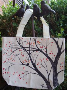 Branches in fall- canvas bag