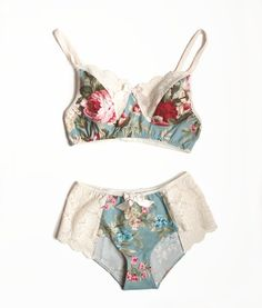 I have a vintage 1940s bra pattern, and knickers pattern; I'll have to do a pretty lace and floral combo like these. ( Use the lace and the vintage ivory and floral sari silk.)