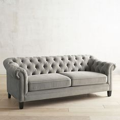 Kaede Gray Chesterfield Velvet Sofa from Pier 1 Velvet Chesterfield Sofa, Velvet Tufted Sofa, Grey Velvet Sofa, Sofa Couch, Tuffed Couch, Velour Sofa, Upholstery Cushions, Furniture Upholstery, Pallet Furniture