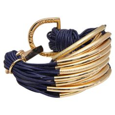 Multi-strand cotton cord bracelet in blue with metal hardware and a lobster clasp.  Product: BraceletConstruction Ma...