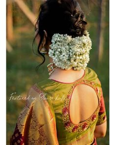 113 Sexy & Sensuous Bridal Blouse Designs For Wedding Season Bridal Hairstyle Indian Wedding, Bridal Hair Buns, Bridal Hairdo, Wedding Saree Blouse Designs, Fancy Blouse Designs, Blouse Designs High Neck, Indian Bun Hairstyles, Bride Hairstyles