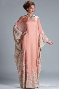 cf8d82da0a5e4 2015 Custom Made Arabic Chiffon Lace Evening Dresses Dubai Kaftan Abaya  Jewel Neck Long Sleeve Plus Size Formal Evening Gown Elegant Dresses  Evening Gown ...