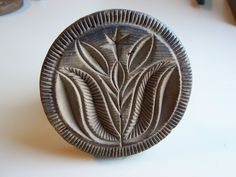 "Antique hand carved ""TULIP"" motif Butter Print ! Butter Stamp. Butter Mold  Great small Butter Print.  Sold  Ebay   390.00"