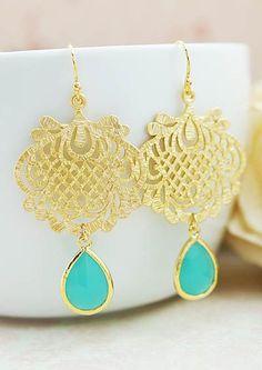 Oriental style charm with mint opal glass drop earrings from EarringsNation