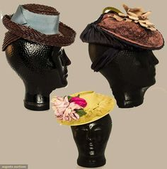 """Three Ladies' Straw """"doll"""" Hats, 1940s, Augusta Auctions, April 8, 2015 NYC, Lot 128"""