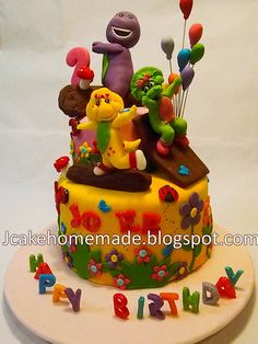 Barney and friends cake Barney Birthday Party, Barney Party, Happy 2nd Birthday, 3rd Birthday Parties, Birthday Cakes, Birthday Ideas, Barney Cake, Barney & Friends, Friends Cake