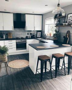 Galley Kitchen Design, Galley Kitchen Remodel, Kitchen Room Design, Modern Kitchen Design, Home Decor Kitchen, Interior Design Kitchen, Kitchen Furniture, New Kitchen, Home Kitchens