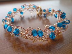 Aurora Bracelet in Blue and Brass by Spasojevich on Etsy, $9.99