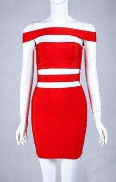Off Shoulder Cut out Bandage Dress