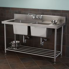 """Stainless+Steel+Double+Well+Commercial+Console+Sink+with+Shelf+-+48"""",+59"""""""