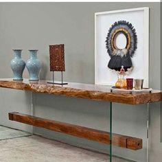 Sklo viete skombinovať s inými typmi materiálov. Napríklad z kombinácie dreva a skla viete vytvoriť takýto vkusný dizajnový nábytok. Entrance Table, Entryway Tables, Space Furniture, Wood Furniture, Dining Cabinet, Live Edge Table, Wood Fireplace, Cool Designs, Sweet Home