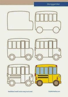 Learn to Draw a School bus Bus safety week October 2014 Easy Drawings For Kids, Drawing For Kids, Art For Kids, Drawing Lessons, Art Lessons, Doodle Drawings, Doodle Art, How To Doodle, Directed Drawing