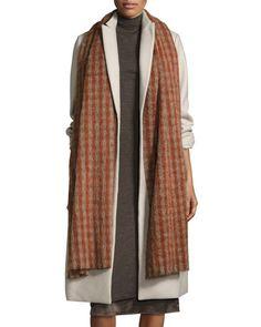 D190Z Brunello Cucinelli Long Check Alpaca & Wool Scarf, Rosewood