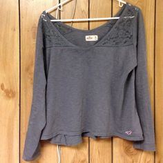 Hollister lace long sleeve Such a cute fit for layering. Add a cute tank under. Also so comfortable. No rips or stains in great condition Hollister Tops Tees - Long Sleeve