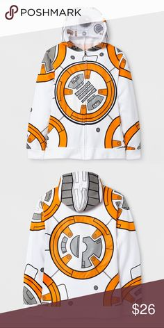 New BB8 Star Wars children sweater They'll be the cutest and coziest droid in the galaxy in this Star Wars™ BB-8 Sweatshirt. This fleece zip-up hoodie features an allover BB-8 design complete with a pull-over mesh feature at the hood so they'll truly embody the astromech from head to, well, hip. This cozy Star Wars hoodie comes in a warm but breathable fit & is lined with super soft fleece so they'll be protected from the outer chill.  60% Cotton & 40% Polyester. New without tags. This is a…