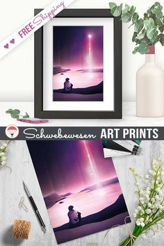 Stargazing Art Print Galaxy Poster Celestial Sky Astronomy Painting Stargazer Artwork Pink Home Decor Magic Night Ocean Landscape Dreamy Illustration comet burgundy artwork  Digital Wishing Star