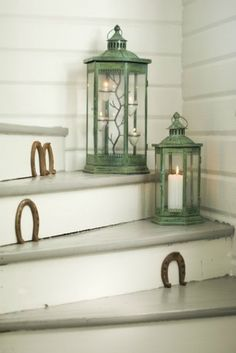Nail horseshoes on the steps of a stairway outdoors! Equestrian chic!
