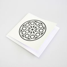 A card with the Rose Window design. It is inspired from the earthquake damaged Christchurch Cathedral. Earthquake Damage, Rose Window, Pre And Post, Window Design, Cathedral, Projects To Try, Windows, Tattoo, Inspired