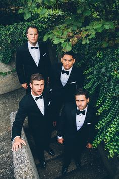 Posing for the groom, his best man, and groomsmen.